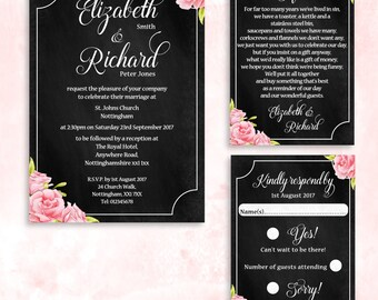 Personalised Printable Wedding Invitation, Printable Wedding Invitation Suite, Chalkboard Style Wedding Invite Set