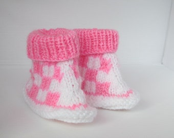Chequered Baby Booties