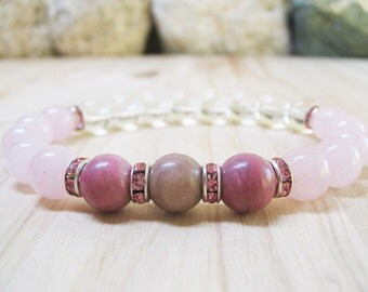 Rhodonite Bracelet Rose Quartz Bracelet Clear Quartz Bracelet Gemstone Bracelet Calming Bracelet Healing Bracelet Love Bracelet Inner Peace