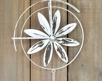 Shabby Chic Bicycle Inspired Wind Chime Spinner, Cottage Garden Decor