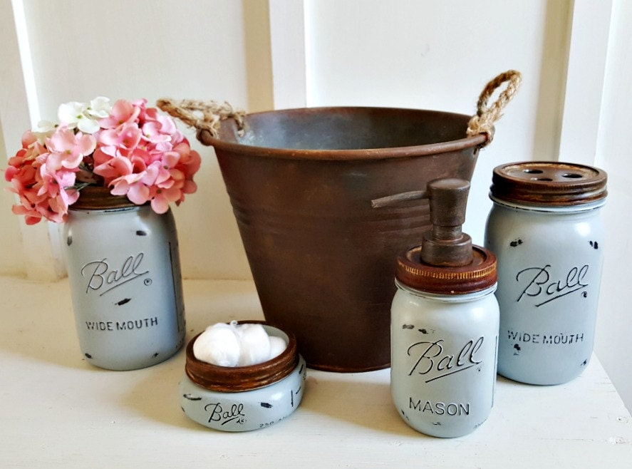 rustic 5 piece mason jar bathroom set.blue.rustic mason soap
