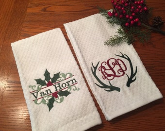 Monogrammed Holiday Kitchen Towels-Personalized Waffle Tea Towels
