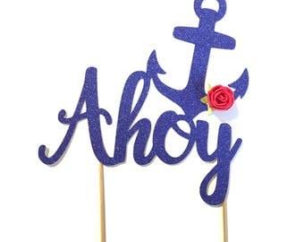 1 pc Anchor AHOY flower rose cake topper nautical sailor royal blue glitter birthday boy girl baby shower wedding