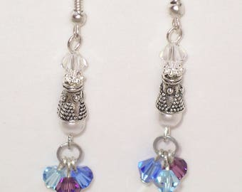 Lila silver plated swarovski crystal and pearl drop earrings