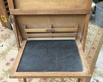 Vintage wooden chalkboard easel desk Child's chalkboard desk Chalk board National School Slate Company Desk