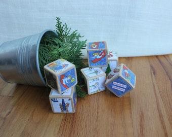 6 Madeline CHRISTMAS Wooden Blocks