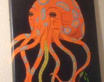 Blue-Ringed Octo Acrylic Painting