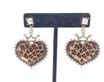 Gorgeous Estate Rhinestone Leopard Heart Gold Tone Pierced Earrings