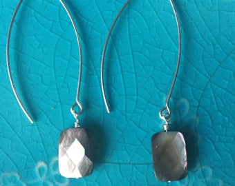 Square Faceted Mother of Pearl Earrings