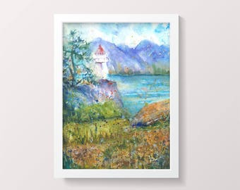 Norway Lighthouse Large Original Watercolour Painting Norwegian Landscape Impressionist Watercolor Colorful Modern Wall Art Fjord Gift ideas