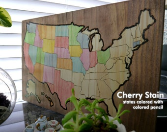Small Colorable Travel Usa Map Woodburned Track Your Travel Home Decor Wood