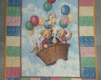 Old Fashioned Teddy Bear quilt, Teddy Bear quilt/blanket, Baby quilt