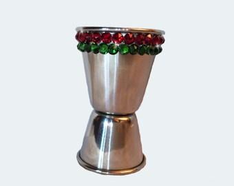 Swarovski Crystal Encrusted Stainless Steel Cocktail Jigger Shot Glass Christmas