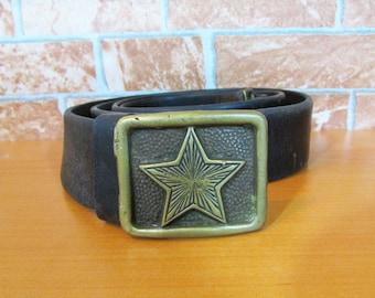 Vintage Military Leather Belt/  Brown Military Belt/  Strong Army Belt/  Belt With Metal Elements/  Adjustable Belt/  Real Leather Belt