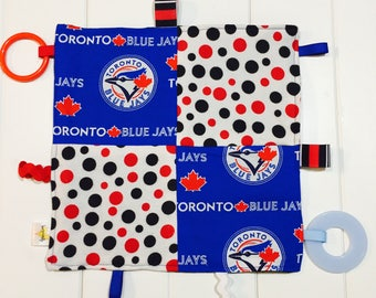 Baby Boy or Girl Sensory Crinkle Teething Taggie. Toronto Blue Jays Baseball and Polka Dots. With Teethers and Ribbons