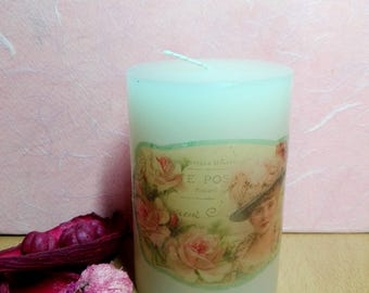Vintage looking handmade decoupage candle, vanilla scented, woman's portrait with roses, the perfect gift, home & living