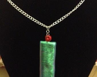 Shiny iridescent metallic colourful Friendly Plastic necklace, Green Block