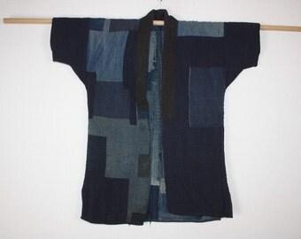 Japanese antique boro Indigo dye cotton sashiko- stitch & Patched  noragi  Farmclothes jacket meiji (1868-1911)