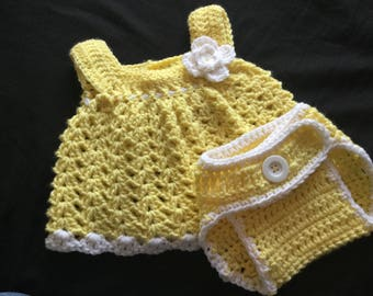 Baby girl sun dress and diaper cover