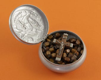 Decade 59 Bead Rosary - French Vintage - Souvenir of Lourdes - Wood and White Metal Crucifix - Gift Box - Storage Box