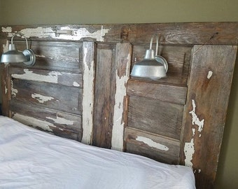 Salvaged Barn Door Into Repurposed Elegant off White Rustic Shabby Chic Farmhouse King Headboard