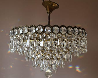 Low Ceiling/Flush Vintage Crystal Chandeliers- Fully Rewired Antique French Vintage  Crystal Chandelier- Superb Ceiling Fittings & Fixture