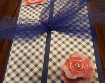 Blue Gingham Gatefold Folio