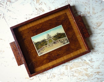 Tray wood decor map postcard Paris - decorative wood marquetry Paris