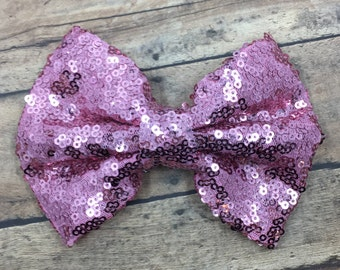 Large Pink Sequin Bow on Shimmer Elastic Headband, Hair Tie or Clip;  Large Sequin Hair Bow, Pink Sequin Bow, Bow on Hair Tie