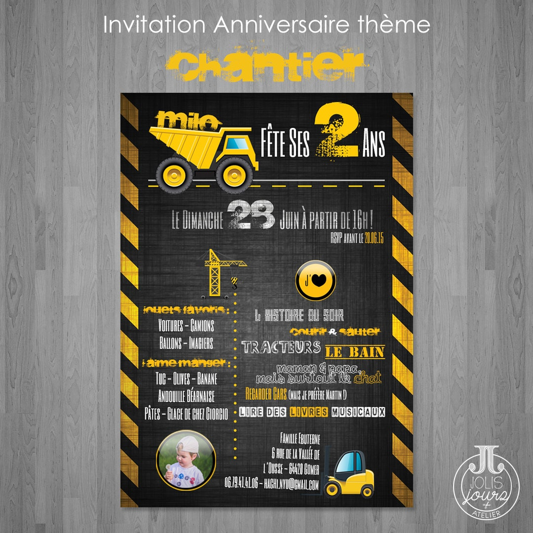 Berühmt Invitation anniversaire Construction Chantier à imprimer UK63