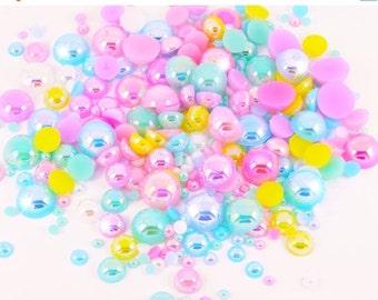 10% OFF SALE 15g Sorbet AB Iridescent Flat Back Pearl Mix Set Decoden Kawaii