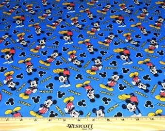 MICKEY MOUSE FABRIC! 1/2 Yard For Quilting / Disney / Blue