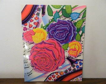 Vintage Lisa Frank Trends School Folder Roses High Heels And Music Notes