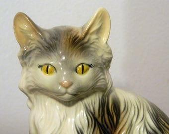 Vintage Ceramic Kitty Cat Figurine Yellow Eyes