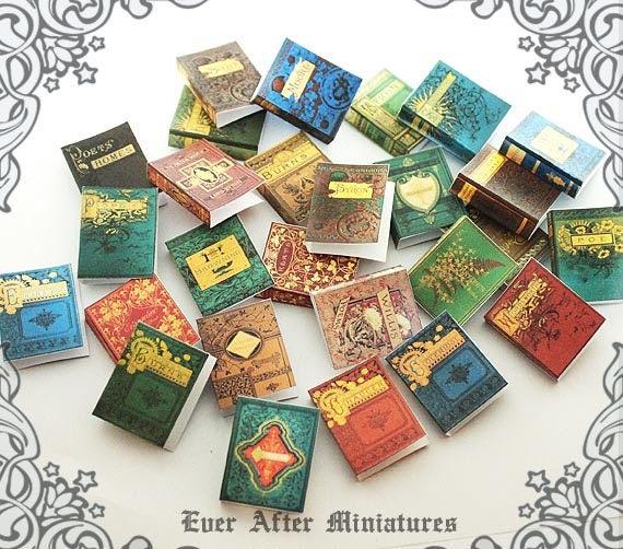 28 Antique Poetry Dollhouse Miniature Book Cover Set #9