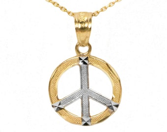10k White Gold Peace Pendant