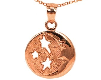 14k Dainty Rose Gold Round Moon and Stars Pendant Necklace