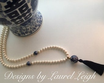 Chinoiserie Beaded Tassel Necklace | PICK TASSEL COLOR, blue and white, long, statement necklace, navy, Designs by Laurel Leigh