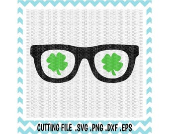 St. Patricks Day Clover Glasses SVG- Dxf- Png- Eps, Cutting Files For Cameo/ Cricut, Svg Download.