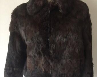 Brown real fur rabbit coat women size medium .