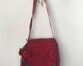 Red leather & rabbit fur evening shoulder bag woman stylish han made bag size small .