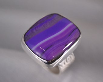 Magenta Swirl Ring, Botswana Agate, Sterling Silver, Size 7.5, Wide Patterned Band, Handmade Modern Statement Ring By JustMOD