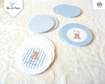 "Small rounds for garlands or decorations to prick to a Baby shower ""it's a boy"" - blue teddy theme"