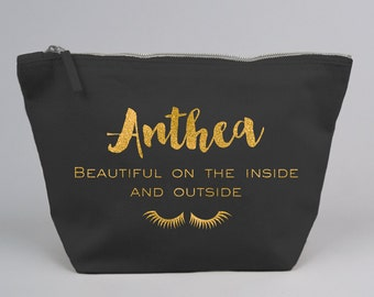 Personalised Large Zipped Make up / Toiletry Bag with Gold Glitter on a Black Cotton Canvas