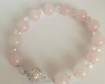 Rose quartz and small sparkle bead bracelet