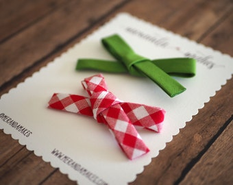 Red Gingham Bow and Grass Green Bow, Summer Hair Bows, Bias Tape Fabric Hand-Tied School Girl Bow, Hair Clip or Headband, Set of 2