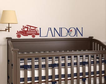 Firetruck Wall Decal - Boy Name Wall Decal - Removable Vinyl Decal
