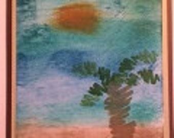 Sea and Palm Tree Greeting Card