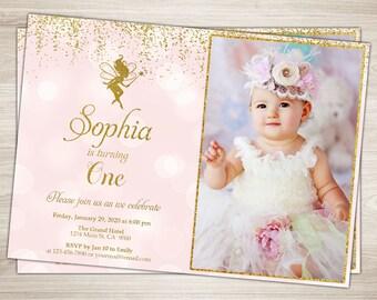 Fairy Birthday Invitation. Pink and Gold Fairy Invitation. Fairy Garden Party Invitation Printable Woodland Fairy 1st First Birthday Invite