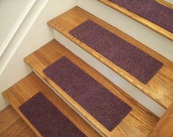 """Essential Carpet Stair Treads - Style Berber - Color Lavender - Size 24"""" x 8"""" - Sets of 4, 7, 13, or 15"""
